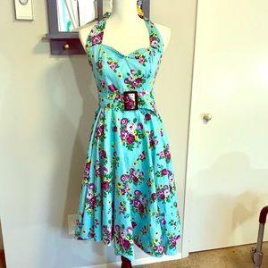 Hell Bunny Vixen Floral Halter Vintage-style Dress